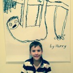 Harry at his 9th birthday and his sloth drawing